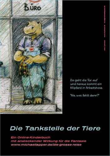 Plakat Tankstelle der Tiere